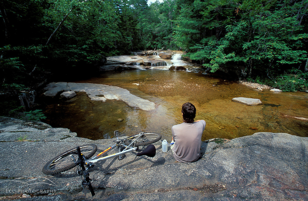 Mountain Biking. Swift River.   White Mountain N.F.  Summer.  Sawyer River Trail, NH