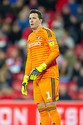 Jon McLaughlin (#1) of Sunderland AFC during the EFL Sky Bet League 1 match between Sunderland AFC and Luton Town at the Stadium Of Light, Sunderland, England on 12 January 2019.