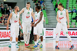 Players of KK Union Olimpija Ljubljana during basketball match between KK Union Olimpija Ljubljana and Banvit B.K. (TUR) in 4th Round of EuroCup LAST 32 2013/14 on January 22, 2014 in Arena Stozice, Ljubljana, Slovenia. Photo by Urban Urbanc / Sportida