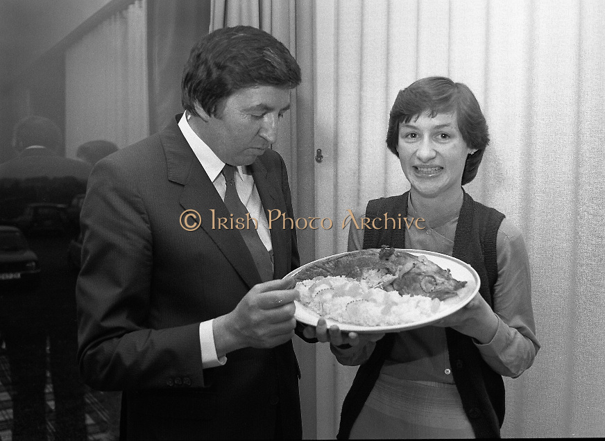 """The National Fish Cookery Award""..29.04.1982..04.29.1982.29th April 1982.1982..This competition sponsored by Bord Iascaigh Mhara was held in The Clare Inn, Newmarket-on Fergus,Co Clare. the competition was open to schools across the country. Minister Daly samples the winning entry with its creator Catherine O'Sullivan."