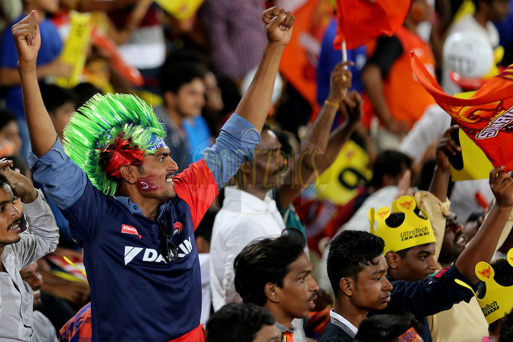 Delhi Daredevils supporters during match 42 of the Vivo IPL 2016 (Indian Premier League ) between the Sunrisers Hyderabad and the Delhi Daredevils held at the Rajiv Gandhi Intl. Cricket Stadium, Hyderabad on the 12th May 2016<br /> <br /> Photo by Faheem Hussain / IPL/ SPORTZPICS