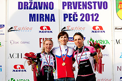 Winner Polona Bogataj of Polet Garmin, second place for Petra Zrimsek of Bepnik and third place for Ursa Pintar Polet Garmin after Slovenian National Championship Mirna Pec 2012, on June 24, 2012, in Mirna Pec, Slovenia. (Photo by Urban Urbanc / Sportida.com)