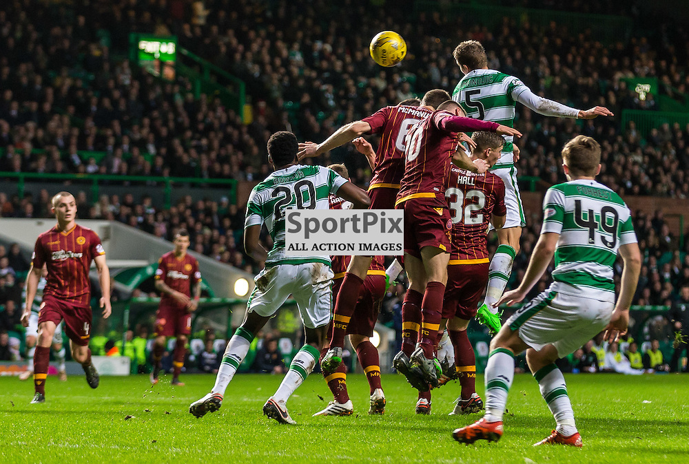 Jozo Simunovic has a header during the match between Celtic and Motherwell (c) ROSS EAGLESHAM | Sportpix.co.uk