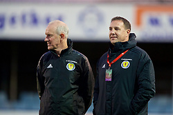 RHYL, WALES - Wednesday, November 14, 2018: Scotland's technical director Malky Mackay (R) before the UEFA Under-19 Championship 2019 Qualifying Group 4 match between Wales and Scotland at Belle Vue. (Pic by Paul Greenwood/Propaganda)