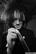 Joshua Von Grim, member of The Horrors, wearing their Goth/Mod style, Southend, UK 2006