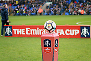 The match ball with FA Cup advertising board in the background before the The 4th round FA Cup match between Peterborough United and Leicester City at London Road, Peterborough, England on 27 January 2018. Photo by Nigel Cole.