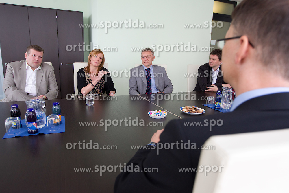 Tomaz Lovse, Petra Majdic, Mitja Praznik, Tomi Trbovc and Igor Luksic at reception of successful cross-country skier Petra Majdic of Slovenia after the end of her sports career at Slovenian Minister for Sport and Education, on April 18, 2011 in MSS, Ljubljana, Slovenia.  (Photo By Vid Ponikvar / Sportida.com)