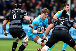 Ted Hill of Worcester Warriors tales on Will Welch of Newcastle Falcons and Logovi'i Mulipola of Newcastle Falcons - Mandatory by-line: Robbie Stephenson/JMP - 03/03/2019 - RUGBY - Kingston Park - Newcastle upon Tyne, England - Newcastle Falcons v Worcester Warriors - Gallagher Premiership Rugby