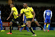 Burton Albion striker Lucas Akins (10) scores a goal 1-2 and celebrates  during the EFL Sky Bet Championship match between Burton Albion and Ipswich Town at the Pirelli Stadium, Burton upon Trent, England on 14 April 2017. Photo by Richard Holmes.