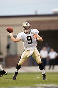 JACKSON, MS - AUGUST 26:  Quarterback Drew Brees of the New Orleans Saints throws a pass against the Indianapolis Colts on August 26, 2006 at Veterans Memorial Field in Jackson, Mississippi.  The Colts won 27 to 14.  (Photo by Wesley Hitt/Getty Images) *** Local Caption *** Drew Brees