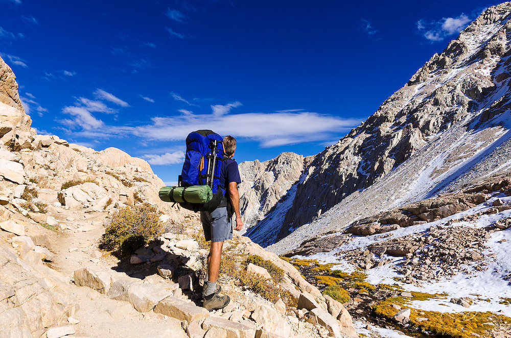 Backpacker on the Mount Whitney Trail, John Muir Wilderness, California USA