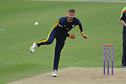 Aiden Markram of Hampshire bowling during the Royal London One Day Cup match between Hampshire County Cricket Club and Middlesex County Cricket Club at the Ageas Bowl, Southampton, United Kingdom on 23 April 2019.