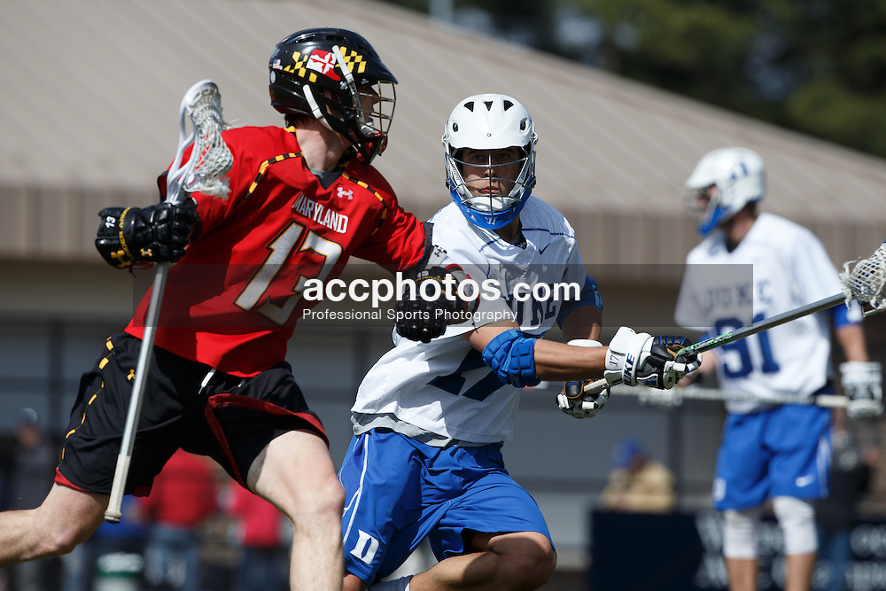 2013 March 02: Dan DiMaria #17 of the Duke Blue Devils during a game against the Maryland Terrapins at Koskinen Stadium in Durham, NC.  Maryland won 16-7.