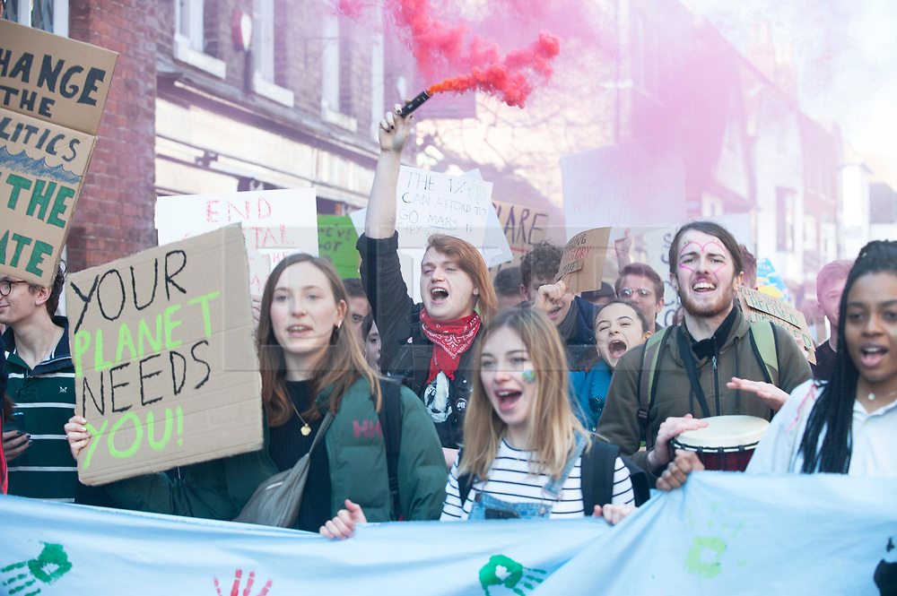 © Licensed to London News Pictures. 15/02/2019. Canterbury,Extinction Rebellion Youth strike 4 climate change in Canterbury Town Centre. Students all around the UK are on strike from school demanding action on climate change.  Photo credit: Grant Falvey/LNP