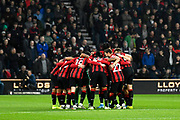 Bournemouth players huddle before kick off during the Premier League match between Bournemouth and Wolverhampton Wanderers at the Vitality Stadium, Bournemouth, England on 23 November 2019.
