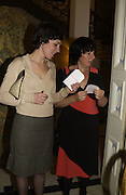 Donna Haddleston and Jennifer Higgie. Dinner at the Italian Embassy in which the winner of the MaxMara Art Prize for Women is announced. Grosvenor Sq. London . 2 February  2006. © Copyright Photograph by Dafydd Jones 66 Stockwell Park Rd. London SW9 0DA Tel 020 7733 0108 www.dafjones.com