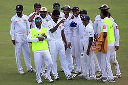 July 26, 2017 - Galle, Sri Lanka - Sri Lankan cricket team members celebrate the wicket of Virat Kohli (unseen) during the 1st Day's play in the 1st Test match between Sri Lanka and India at the Galle International cricket stadium, Galle, Sri Lanka on Wednesday 26 July 2017. (Credit Image: © Tharaka Basnayaka/NurPhoto via ZUMA Press)