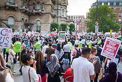 London, July 15th 2014. Thousands of Palestinians and their supporters demonstrate outside the BBC's headquarters against an alleged pro-Israeli bias in their coverage of Palestinian affairs.