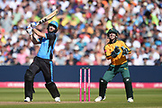 Wayne Parnell of Worcestershire Rapids hits a six down the ground during the Vitality T20 Finals Day 2019 match between Notts Outlaws and Worcestershire Rapids at Edgbaston, Birmingham, United Kingdom on 21 September 2019.