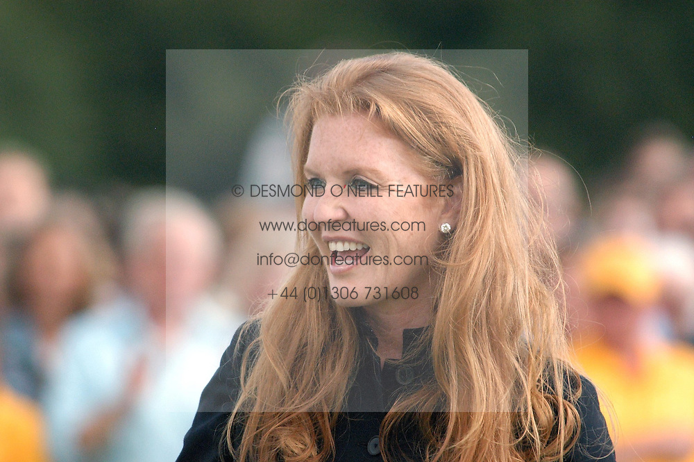 SARAH, DUCHESS OF YORK at the Veuve Clicquot sponsored Gold Cup or the British Open Polo Championship won by The  Azzura polo team who beat The Dubai polo team 17-9 at Cowdray Park, West Sussex on 18th July 2004.