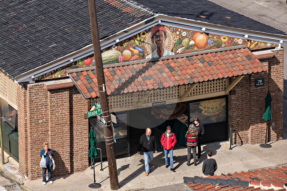 Aerial view of the Historic Charleston City Market on Market Street in Charleston, SC.