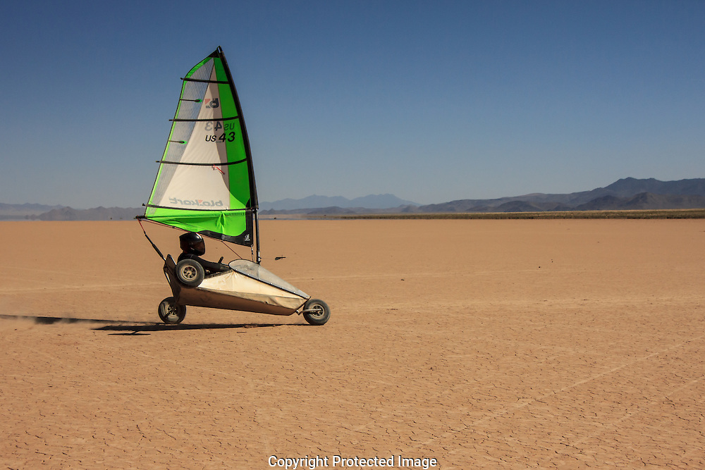 Scott Young,former Blokart land speed record holder, shows his stuff at possibly the best Blokart sailing area in the world, Red Lake, Arizona.