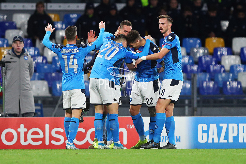 Arkadiusz Milik of Napoli celebrates with his teammates after scoring 2-0 goal during the UEFA Champions League, Group E football match between SSC Napoli and KRC Genk on December 10, 2019 at Stadio San Paolo in Naples, Italy - Photo Federico Proietti / ProSportsImages / DPPI