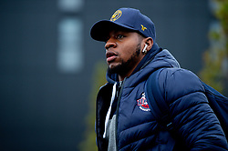 Panos Mayindombe of Bristol Flyers heads towards the bus before leaving the Village Hotel to travel to Worcester Wolves - Photo mandatory by-line: Ryan Hiscott/JMP - 01/11/2019 - BASKETBALL - University of Worcester - Bristol, England - Worcester Wolves v Bristol Flyers - British Basketball League Cup