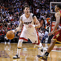 24 January 2012: Miami Heat shooting guard Mike Miller (13) looks to pass the ball to a teammate during the Miami Heat 92-85 victory over the Cleveland Cavaliers at the AmericanAirlines Arena, Miami, Florida, USA.