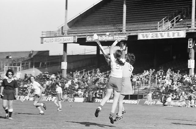 Cork and Wexford battle it out in the air for possession of the slitor during the All Ireland Senior Camogie Final Cork v Wexford in Croke Park on the 21st September 1975. Wexford 4-3 Cork 1-2.