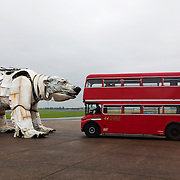 A first glimpse of Aurora, the double-decker-bus-size polar bear puppet specially commissioned by Greenpeace to lead an Arctic-inspired street parade to the London HQ of oil giant Shell on 15 September. The three-tonne marionette bear will be operated from the inside by a team of 15 puppeteers, including artists from West End blockbuster War Horse, and will be hauled on ropes by 30 volunteers along a route including the Houses of Parliament and Westminster Bridge. The giant bear, which is made of replica and reclaimed ship parts as well as recycled materials, will be carrying in her fur the names of over 3 and half million people who have joined the global movement to protect the Arctic from industrial exploitation. The names will be delivered to Shell's HQ in London on 15 September as part of a global day of action to protect the Arctic.