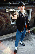 Neville with gun. UK. 1980s.