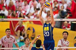 21-09-2014 POL: FIVB WK Finale Polen - Brazilie, Katowice<br /> Zuspiel Raphael Vieira de Oliveira (#20 BRA)<br /> <br /> ***NETHERLANDS ONLY***