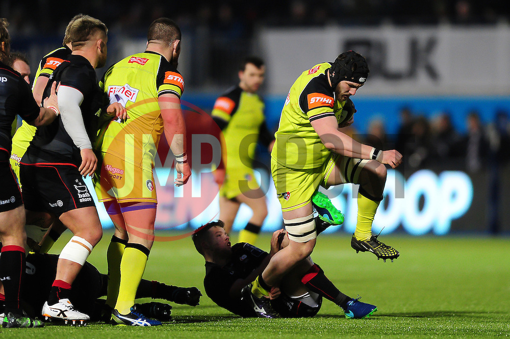 Harry Wells of Leicester Tigers takes on the Saracens defence - Mandatory byline: Patrick Khachfe/JMP - 07966 386802 - 05/02/2017 - RUGBY UNION - Allianz Park - London, England - Saracens v Leicester Tigers - Anglo-Welsh Cup.
