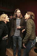 LAURENCE PICHOT,  MICHAEL BIRCH AND ALEXANDRA WOODWARD,  Launch of Ziv Navoth's book Ð Nanotales. The Groucho Club, London. 22 February 2007. t -DO NOT ARCHIVE-© Copyright Photograph by Dafydd Jones. 248 Clapham Rd. London SW9 0PZ. Tel 0207 820 0771. www.dafjones.com.