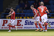 Walsall forward Milan Lalkovic after scoring (0-1) during the Sky Bet League 1 match between Gillingham and Walsall at the MEMS Priestfield Stadium, Gillingham, England on 12 April 2016. Photo by Martin Cole.