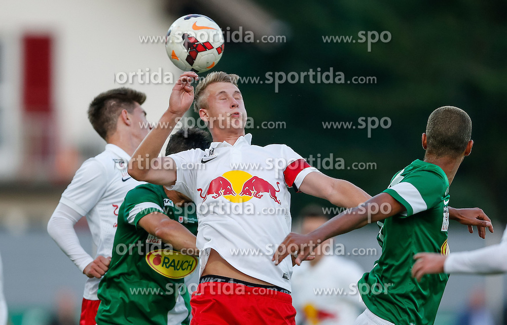 25.09.2014, Reichshofstadion, Lustenau, AUT, 2. FBL, SC Austria Lustenau vs FC Liefering, 12. Runde, im Bild Kopfball Lukas Josef Gugganig, (FC Liefering, #11)// during Austrian Second Bundesliga Football Match, 12th round, between SC Austria Lustenau vs FC Liefering at the Reichshofstadion, Lustenau, Austria on 2014/09/26. EXPA Pictures © 2014, PhotoCredit: EXPA/ Peter Rinderer