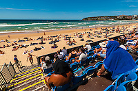 Spectators watch events during the Australian Open of Surfing at Manly Beach, Sydney, New South Wales, Australia.