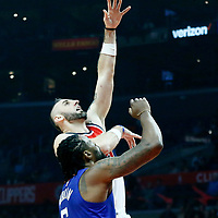 09 December 2017: Washington Wizards center Marcin Gortat (13) goes for the baby hook over LA Clippers center DeAndre Jordan (6) during the LA Clippers 113-112 victory over the Washington Wizards, at the Staples Center, Los Angeles, California, USA.
