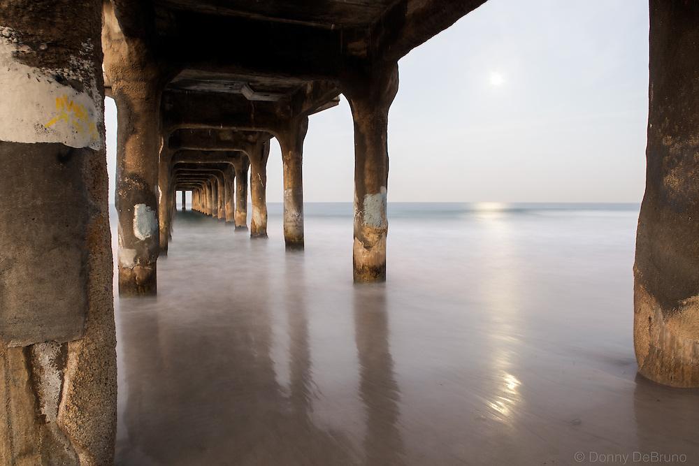 Moon lit Manhattan Beach Pier