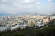 Israel, Haifa, Overlooking the Bay of Haifa from the Carmel Mountain The Haifa port in the background