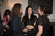 NAOMI CAMBRIDGE; HELEN THORPE; MARGOT HELLER, Stefania Pramma launched her handbag brand PRAMMA  at the Kensington residence of her twin sister, art collector Valeria Napoleone.. London.  29 April 2015