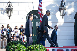 October 18, 2016 - Washington, DC, United States - On the South Lawn  of the White House in Washington, D.C., U.S., on Tuesday, Oct. 18, 2016., (l-r), Italian Prime Minister Matteo Renzi, and President Barack Obama, make their way onto the stage at the Official State Visit. This was the last Official State Visit for the Obama administration. (Credit Image: © Cheriss May/NurPhoto via ZUMA Press)