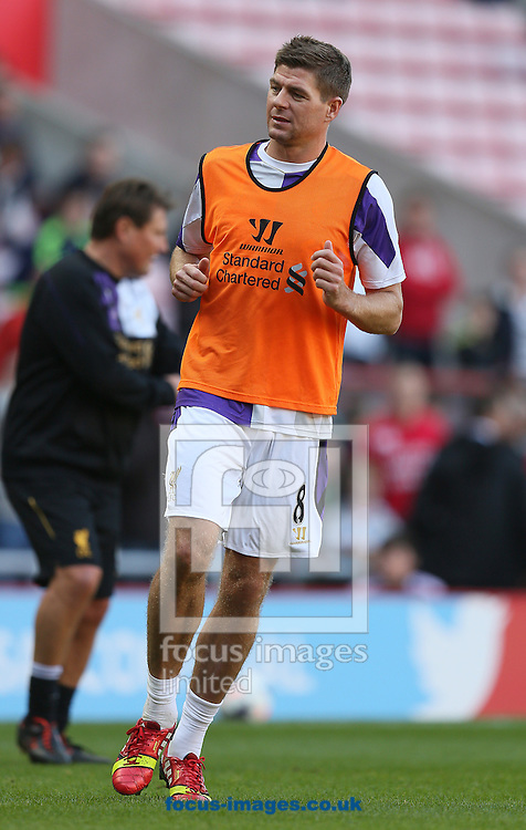 Picture by Paul Gaythorpe/Focus Images Ltd +447771 871632<br /> 29/09/2013<br /> Stephen Gerrard of Liverpool before the Barclays Premier League match against Sunderland at the Stadium Of Light, Sunderland.