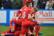 GOAL Ian Henderson celebrates open in the scoring 0-1  during the The FA Cup 3rd round match between Barrow and Rochdale at Holker Street, Barrow, United Kingdom on 7 January 2017. Photo by Daniel Youngs.