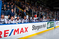 KELOWNA, CANADA - OCTOBER 27: The Tri-City Americans' bench on October 27, 2017 at Prospera Place in Kelowna, British Columbia, Canada.  (Photo by Marissa Baecker/Shoot the Breeze)  *** Local Caption ***