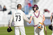 Match drawn - Somerset's Chris Rogers shakes hands with Lancashire's Alviro Petersen during the Specsavers County Champ Div 1 match between Somerset County Cricket Club and Lancashire County Cricket Club at the County Ground, Taunton, United Kingdom on 4 May 2016. Photo by Graham Hunt.