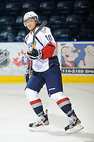 KELOWNA, CANADA, OCTOBER 5: Zachary Yuen #10 of the Tri City Americans warms up against the Kelowna Rockets on October 5, 2011 at Prospera Place in Kelowna, British Columbia, Canada (Photo by Marissa Baecker/shootthebreeze.ca) *** Local Caption ***Zachary Yuen;