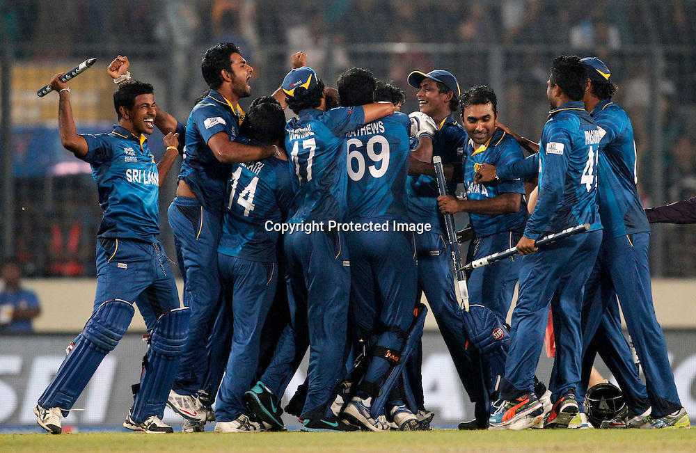 Sri Lanka Celebrate the win, ICC T20 cricket World Cup Final - Sri Lanka v India, Sher-e-Bangla National Cricket Stadium, Mirpur, Bangladesh, 6 April 2014. Photo: www.photosport.co.nz