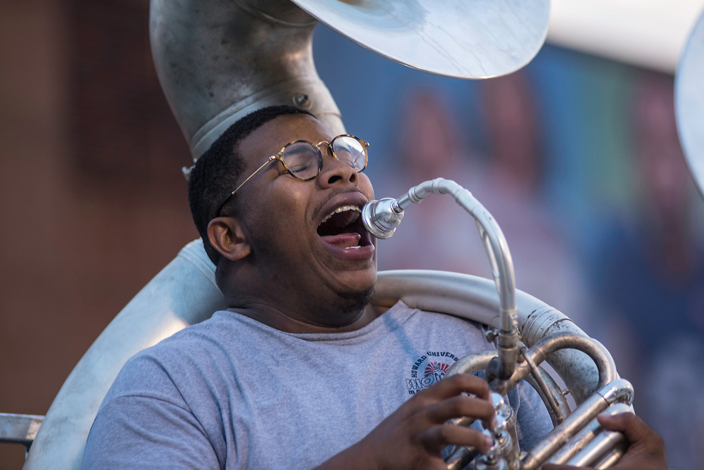 WASHINGTON,DC - October 6, 2017: Tuba section leader Cameron Franklin shouts out his part during practice.<br /> Howard University's Showtime Marching Band is part of a long tradition of outstanding bands at HBCU's. The band practices in the days leading up to a home game against North Carolina Central. (Andr&eacute; Chung for The Undefeated)